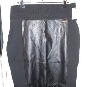 Calvin Klein Faux Leather/stretch pull-on skirt